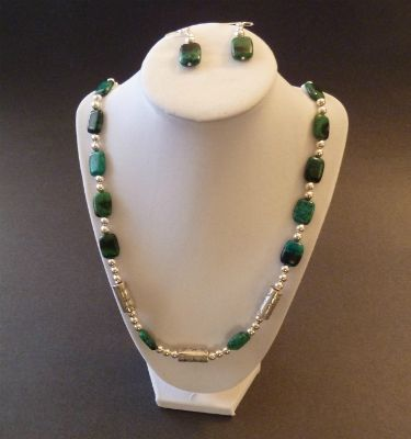 Chrysocolla with Malachite Necklace & Earring set