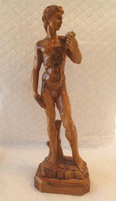 Hand-Carved Olive Wood Statue of Michelangelo's 'David'